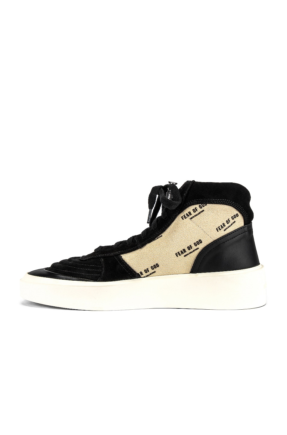 Image 5 of Fear of God Strapless Skate Mid in Black & Creme Print