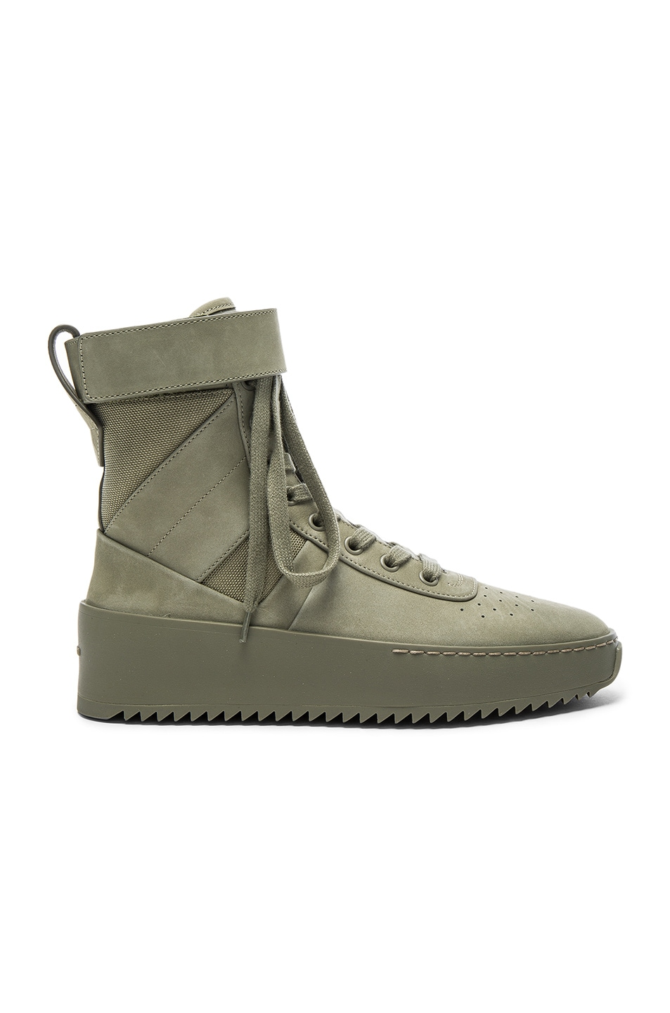 Image 1 of Fear of God Nubuck Leather Military Sneakers in Army Green