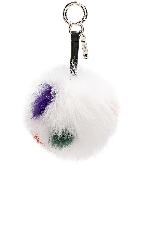 Image 1 of Fendi Fox Fur Pom Pom Charm in White & Multi