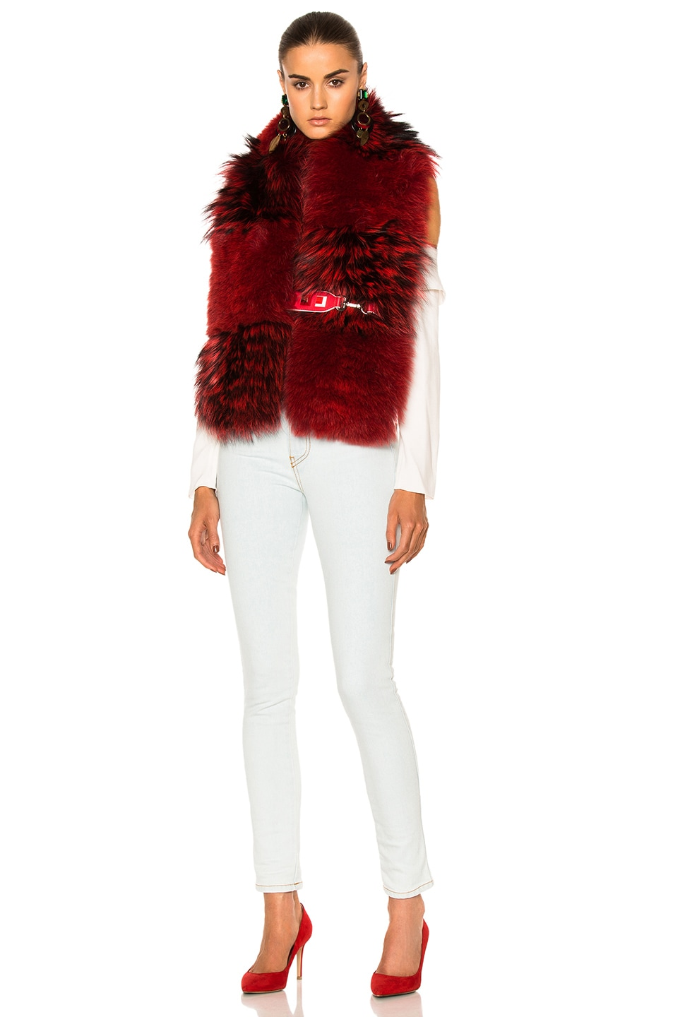 Image 1 of Fendi Fox Fur Stole in Red
