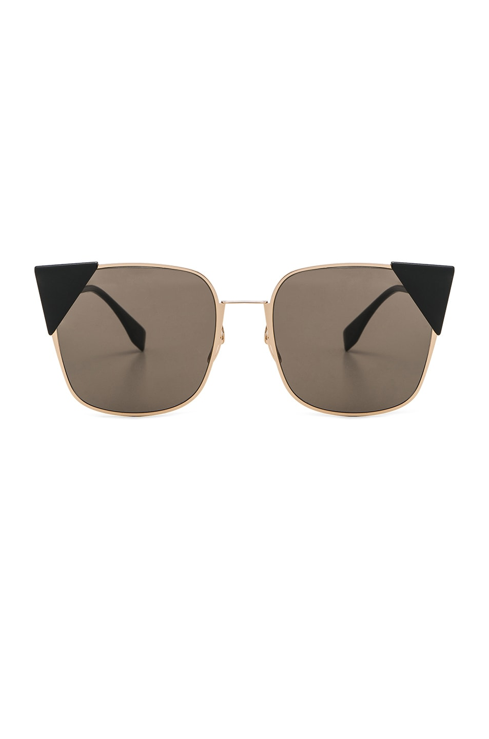 Image 1 of Fendi Square Sunglasses in Rose Gold & Brown