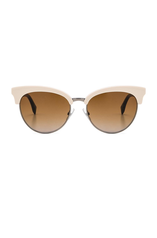 Image 1 of Fendi Cat Eye Sunglasses in White & Brown Gradient