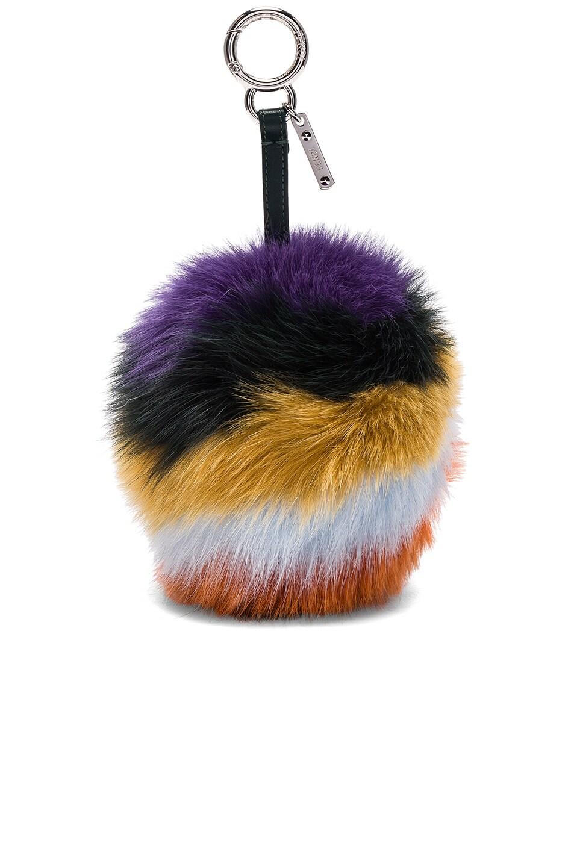 Image 1 of Fendi Rainbow Fox Fur Pom Pom Charm in Amethyst Multi