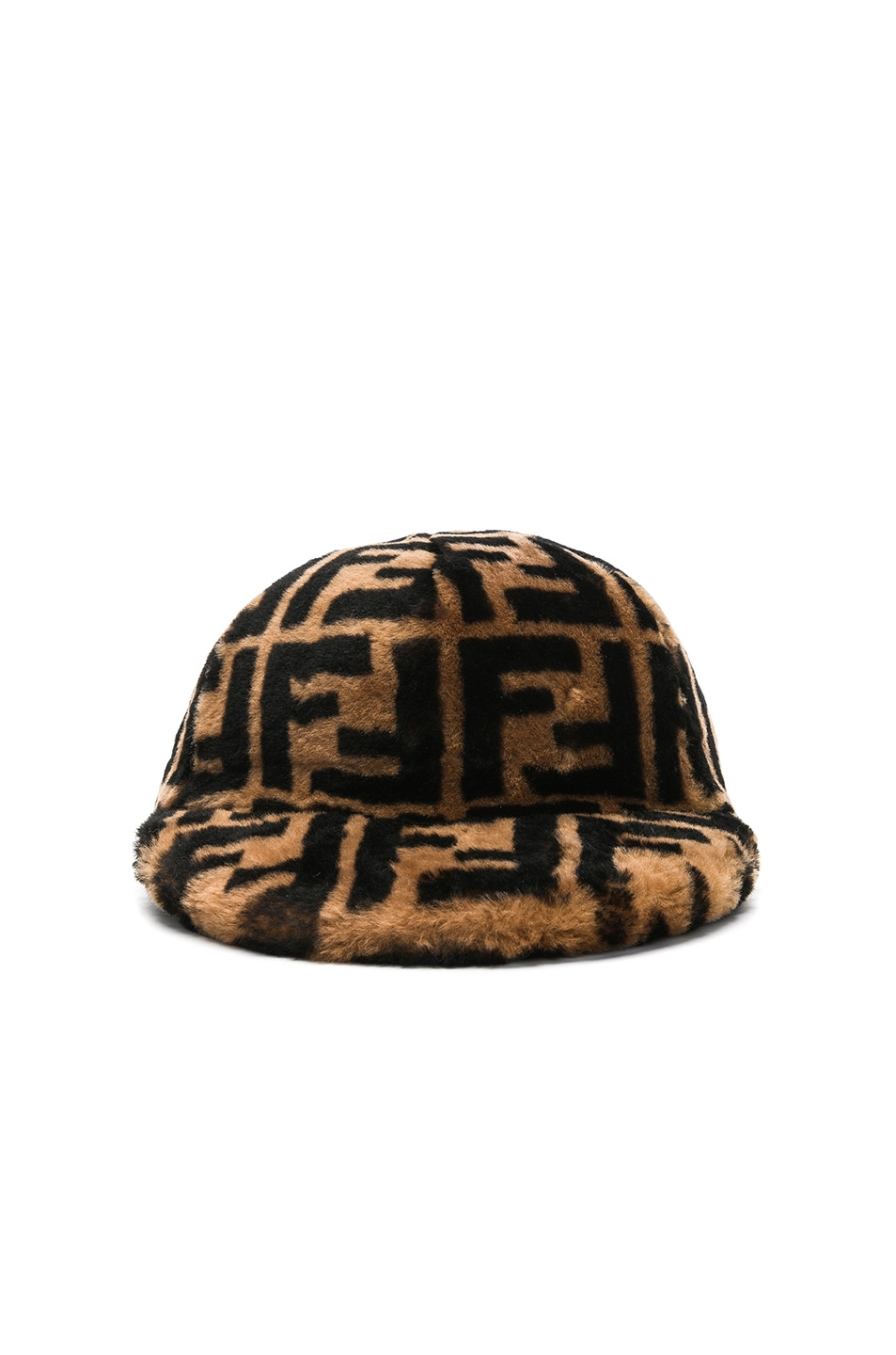 Image 1 of Fendi Shearling Logo Print Cap in Brown & Black