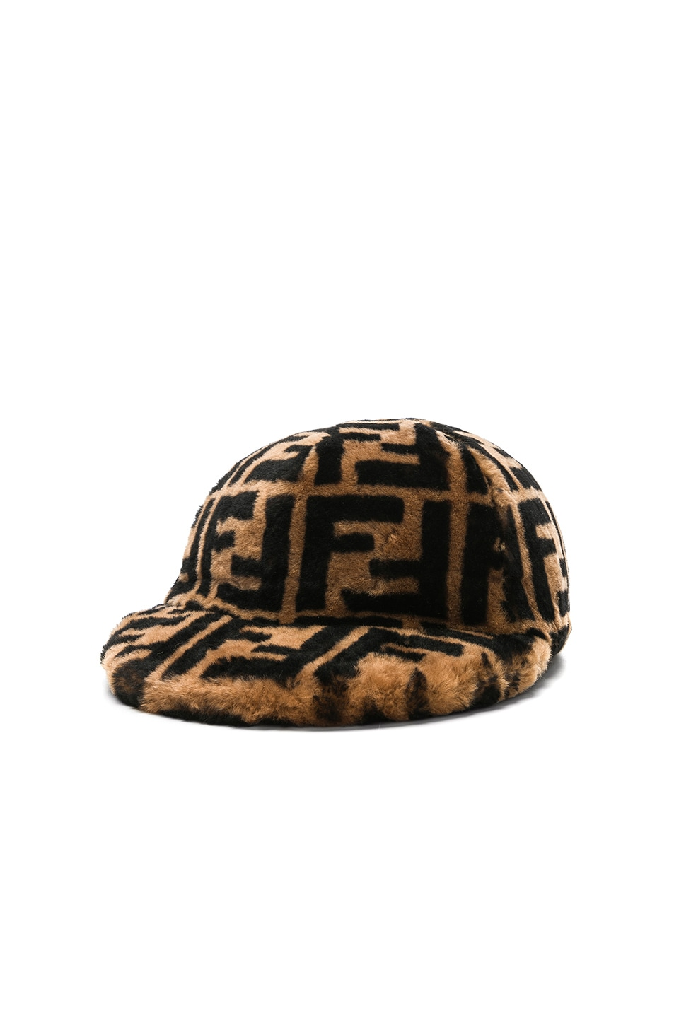 Image 2 of Fendi Shearling Logo Print Cap in Brown & Black