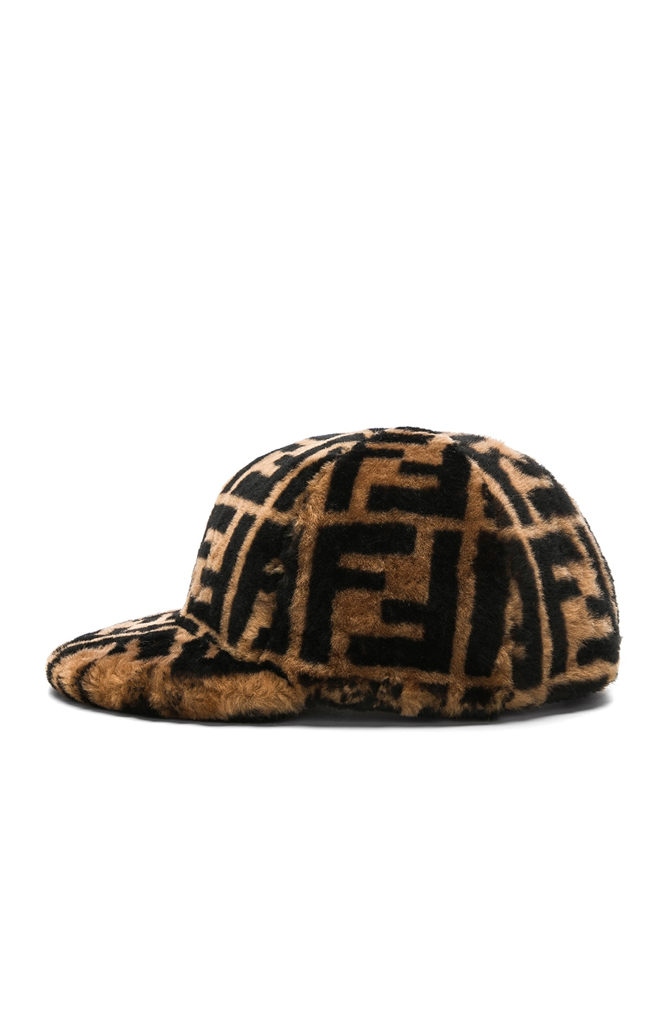 Image 3 of Fendi Shearling Logo Print Cap in Brown & Black