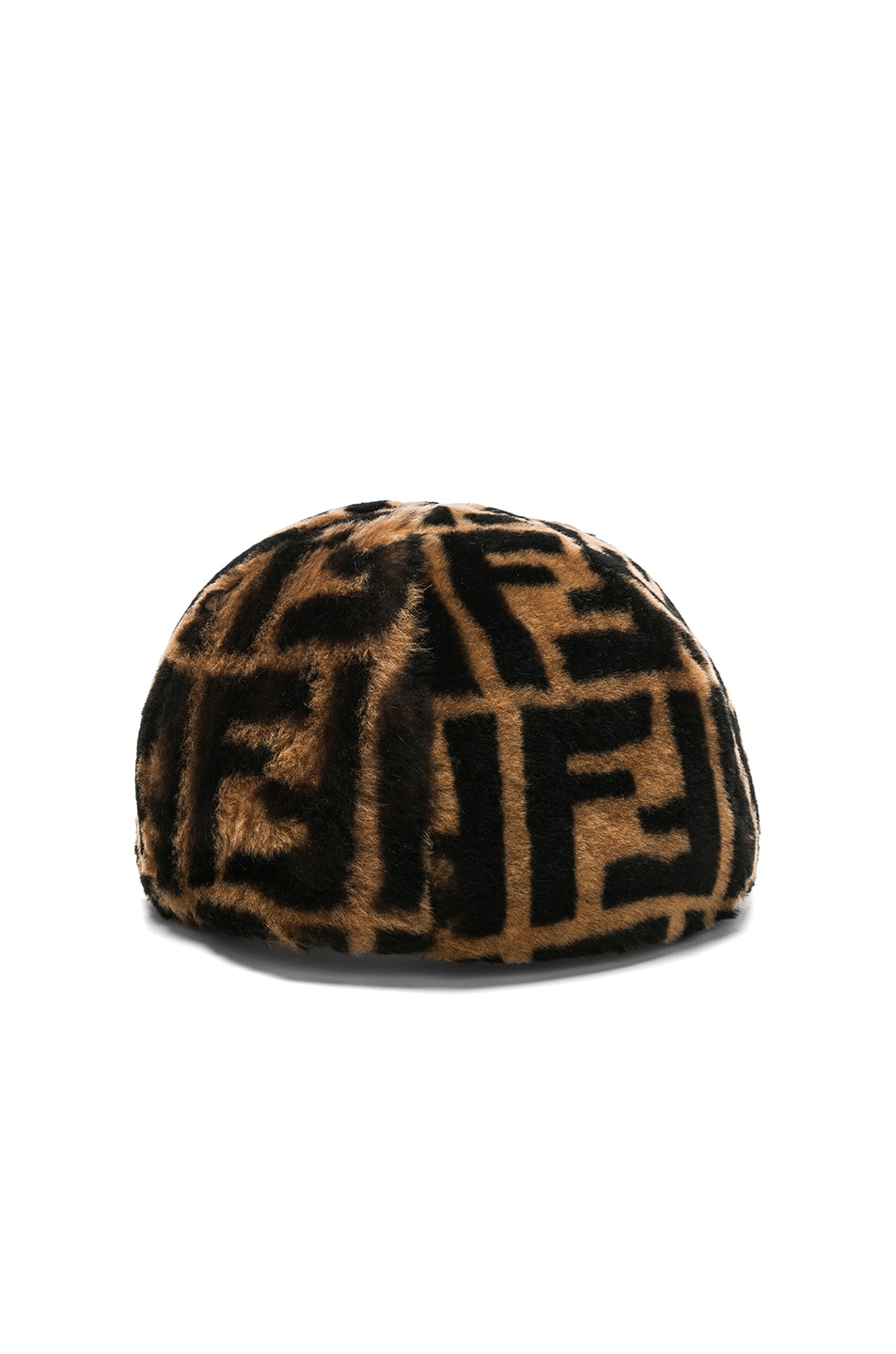Image 4 of Fendi Shearling Logo Print Cap in Brown & Black