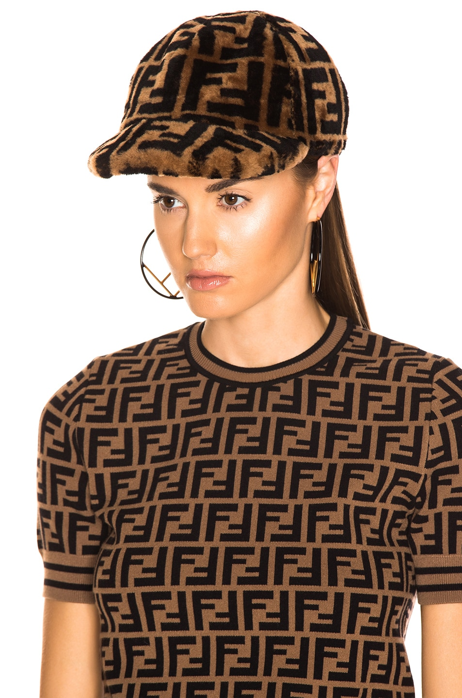 Image 5 of Fendi Shearling Logo Print Cap in Brown & Black
