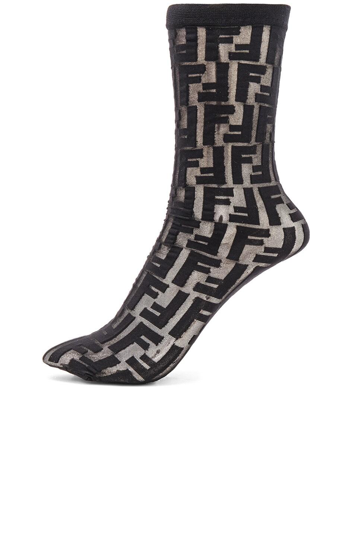 Image 1 of Fendi Logo Print Nylon Socks in Black