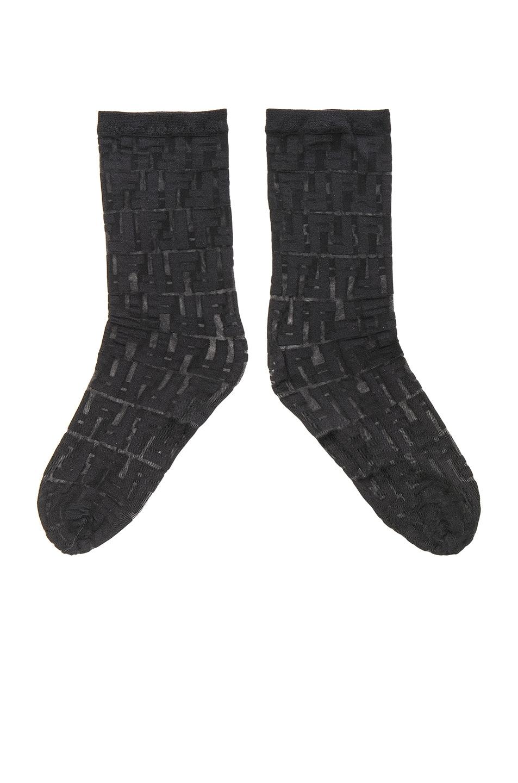 Image 2 of Fendi Logo Print Nylon Socks in Black