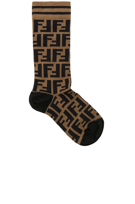 fendi logo print crew socks in brown amp black fwrd
