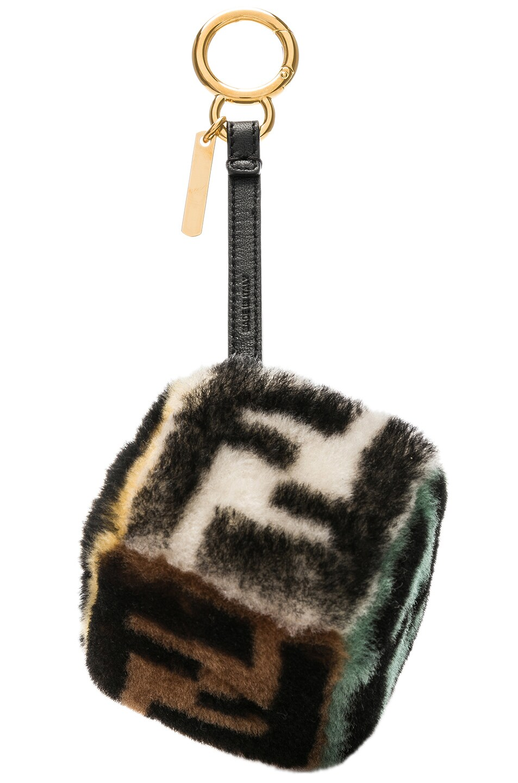 Image 2 of Fendi Logo Print Shearling Dice Charm in Black & Multicolor