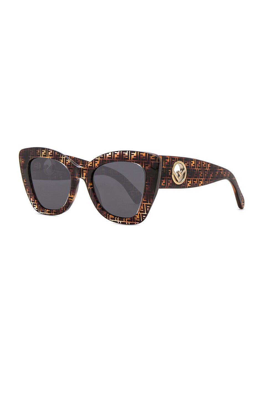 Image 2 of Fendi Logo Trim Sunglasses in Dark Havana & Grey Blue