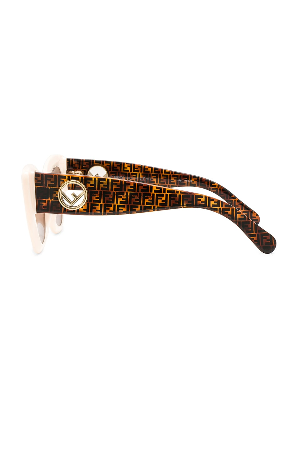 Image 3 of Fendi Logo Sunglasses in White & Brown
