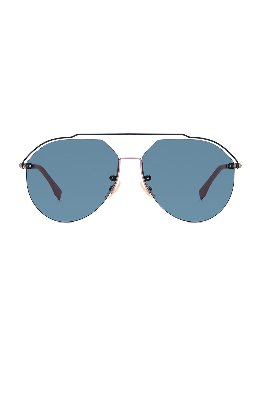 Image 1 of Fendi Full Coverage Sunglasses in Light Gold & Green