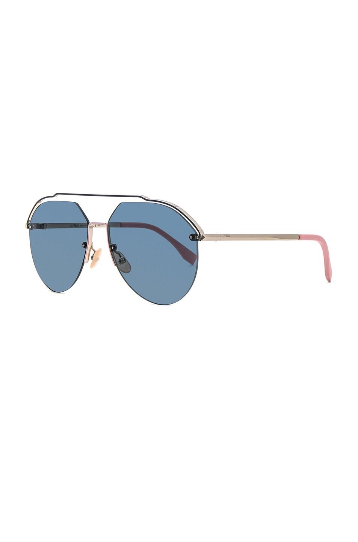 Image 2 of Fendi Full Coverage Sunglasses in Light Gold & Green