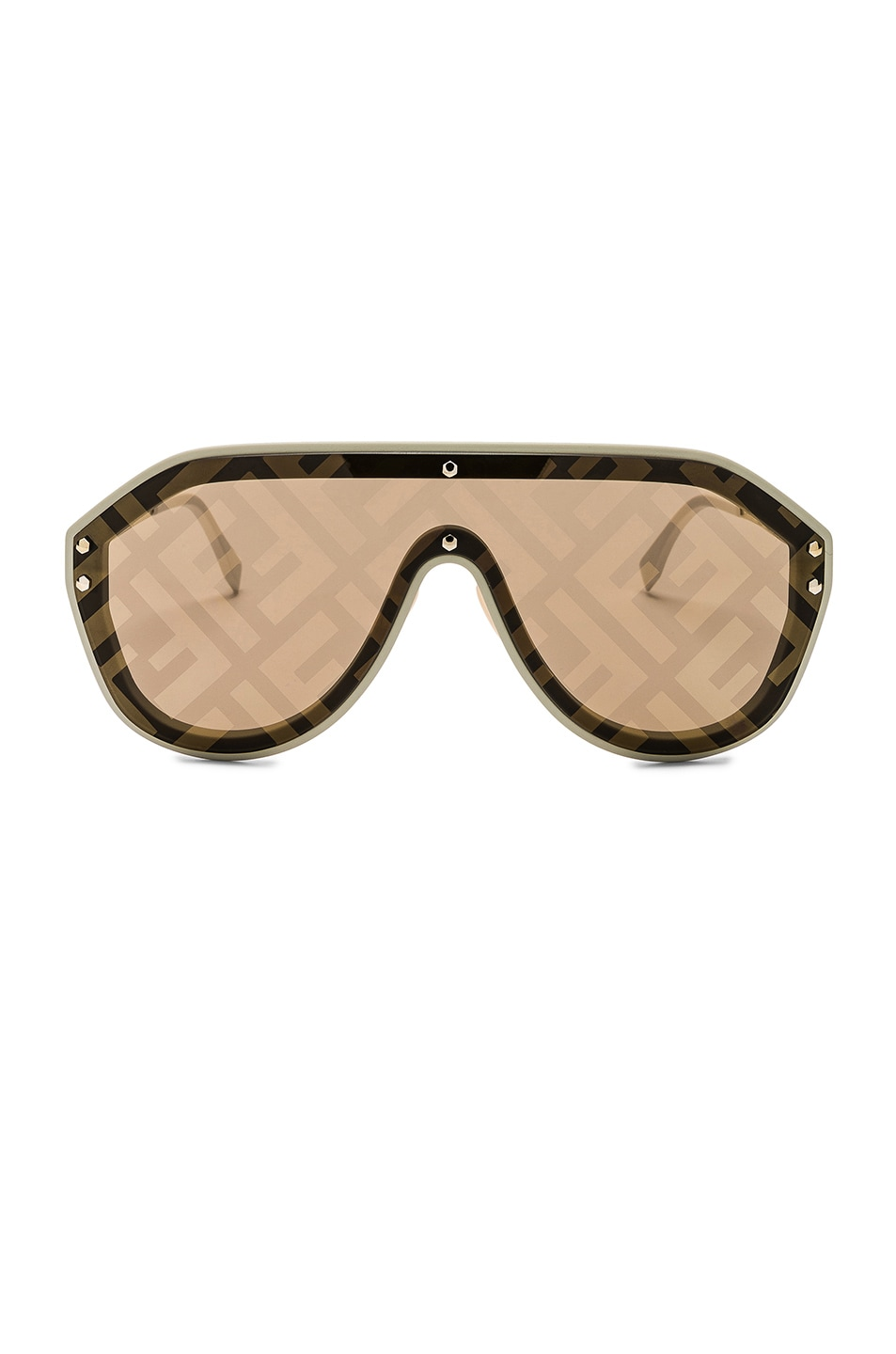Image 1 of Fendi Logo Face Sunglasses in Beige & Gold Decor