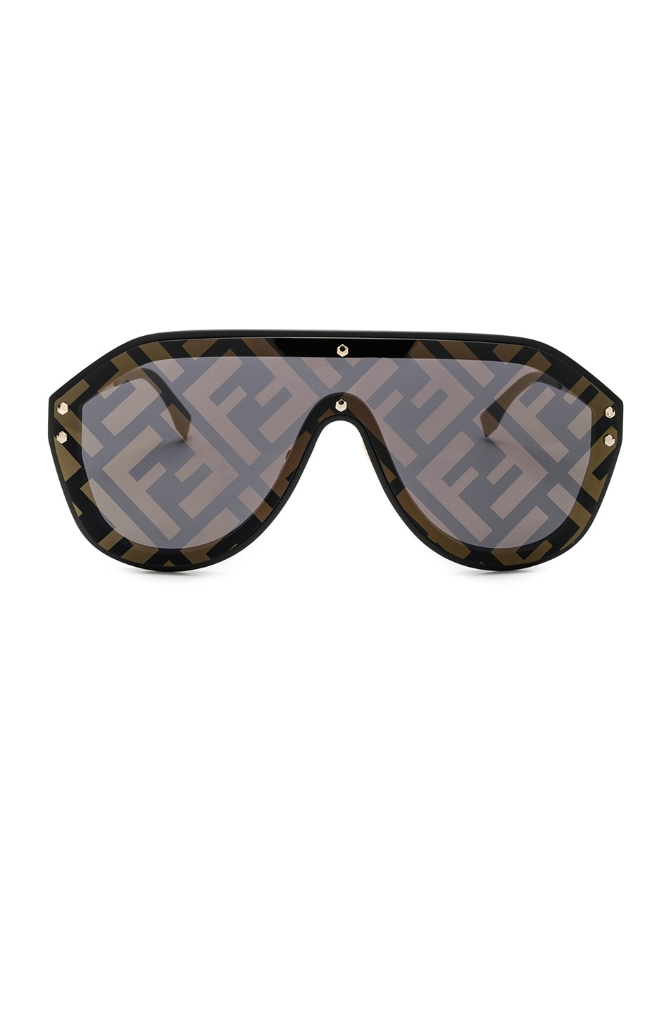 Image 1 of Fendi Logo Face Sunglasses in Black Gold & Gold Decor
