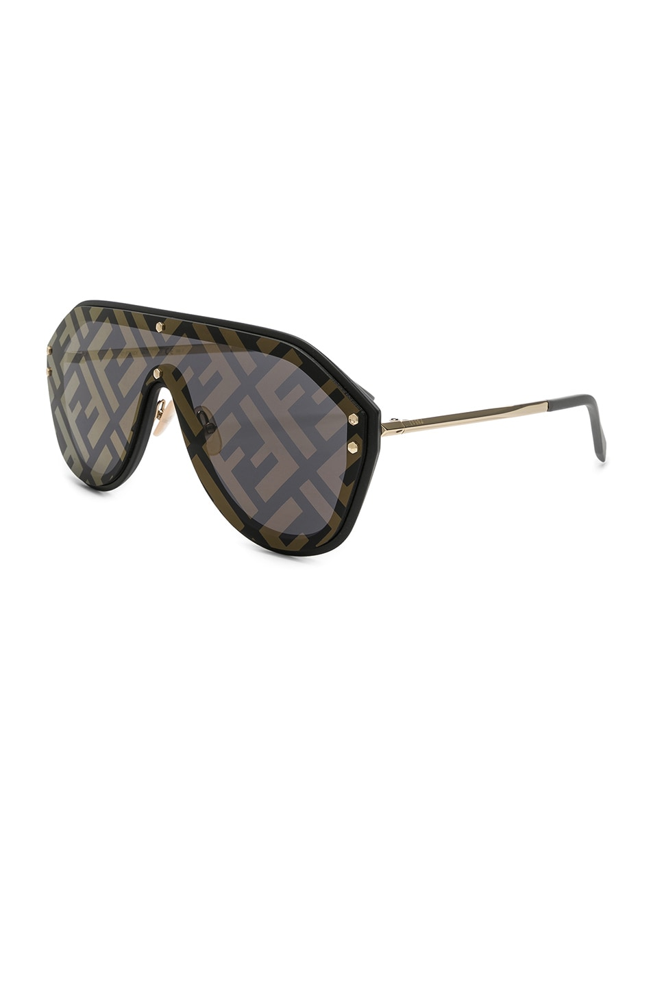 Image 2 of Fendi Logo Face Sunglasses in Black Gold & Gold Decor