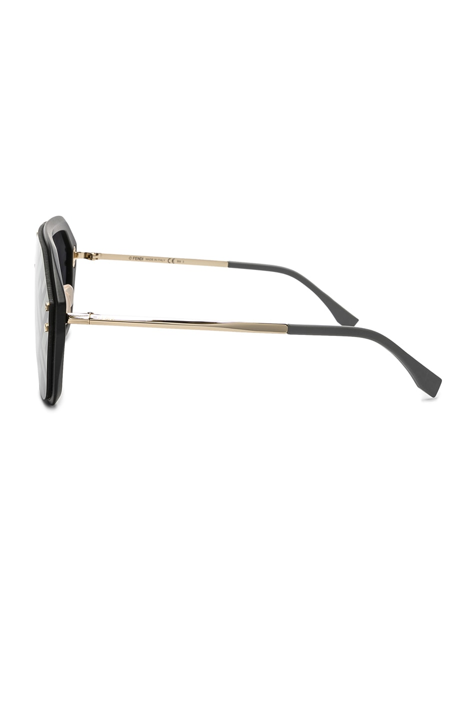 Image 3 of Fendi Logo Face Sunglasses in Black Gold & Gold Decor