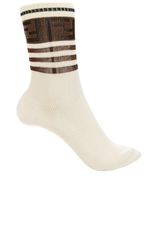 Image 1 of Fendi Logo Trim Crew Socks in White
