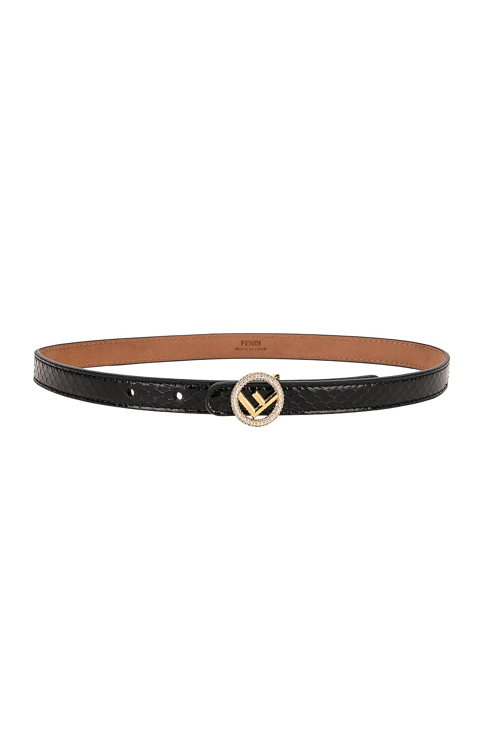 Image 2 of Fendi Small Logo Belt in Black