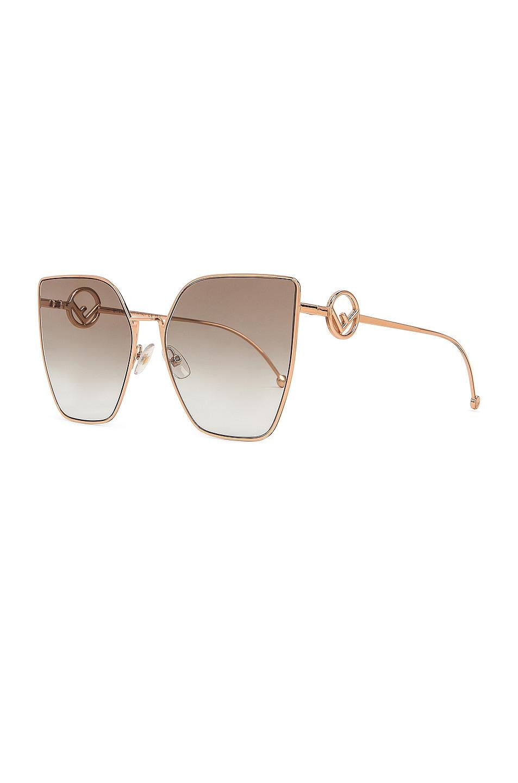 Image 2 of Fendi Oversized Square Sunglasses in Gold & Copper
