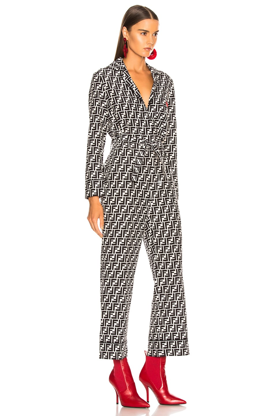 Image 3 of Fendi Logo Print Belted Pajama Jumpsuit in Black & White