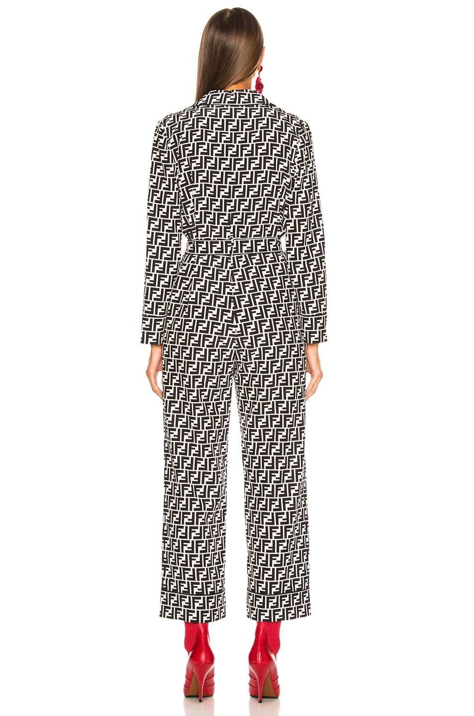 Image 4 of Fendi Logo Print Belted Pajama Jumpsuit in Black & White