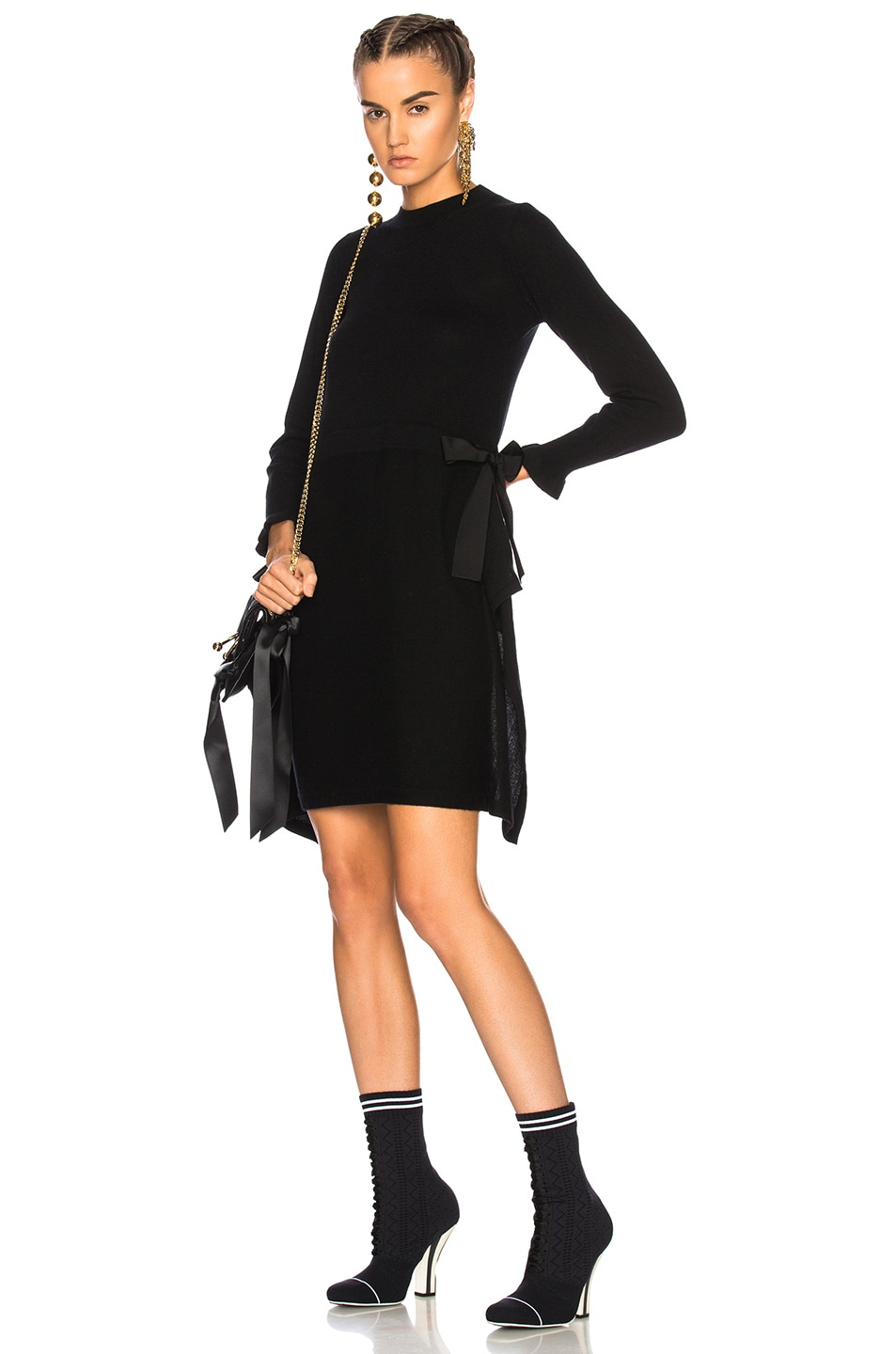 1d67cd87b57 Image 1 of Fendi Long Sleeve Sweater Dress in Black