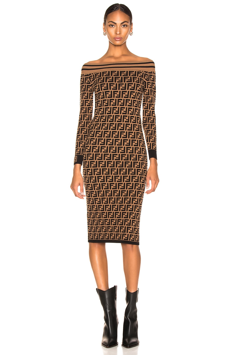 f0e074186b3 Image 2 of Fendi Logo Print Off Shoulder Sweater Dress in Tobacco   Black