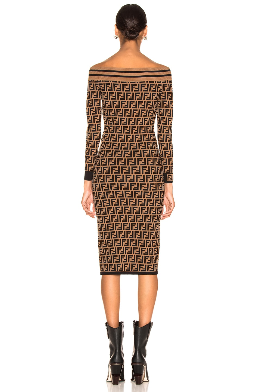 b142ebccaa Image 4 of Fendi Logo Print Off Shoulder Sweater Dress in Tobacco & Black