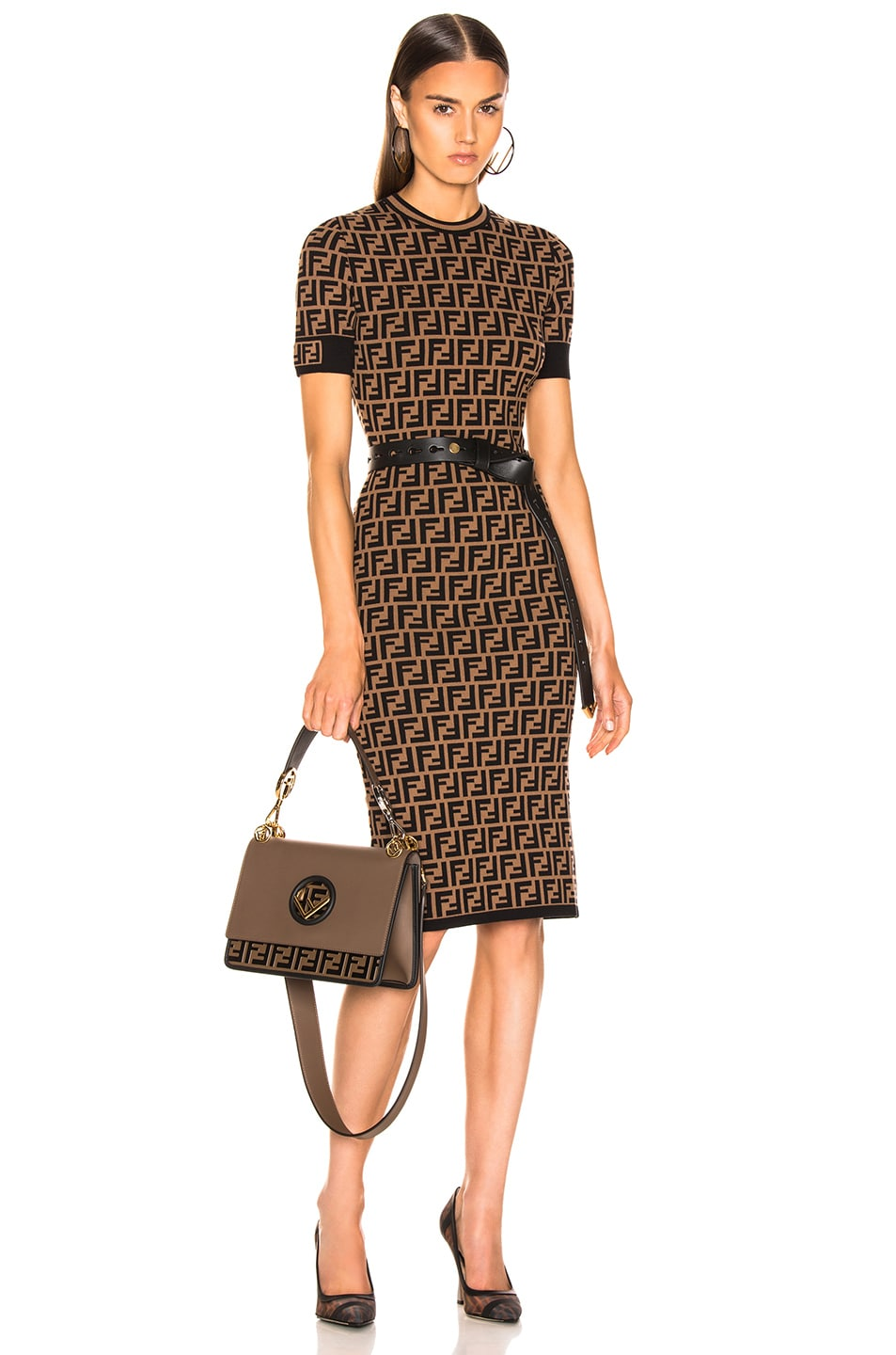 Image 1 of Fendi Knit Dress in Tobacco