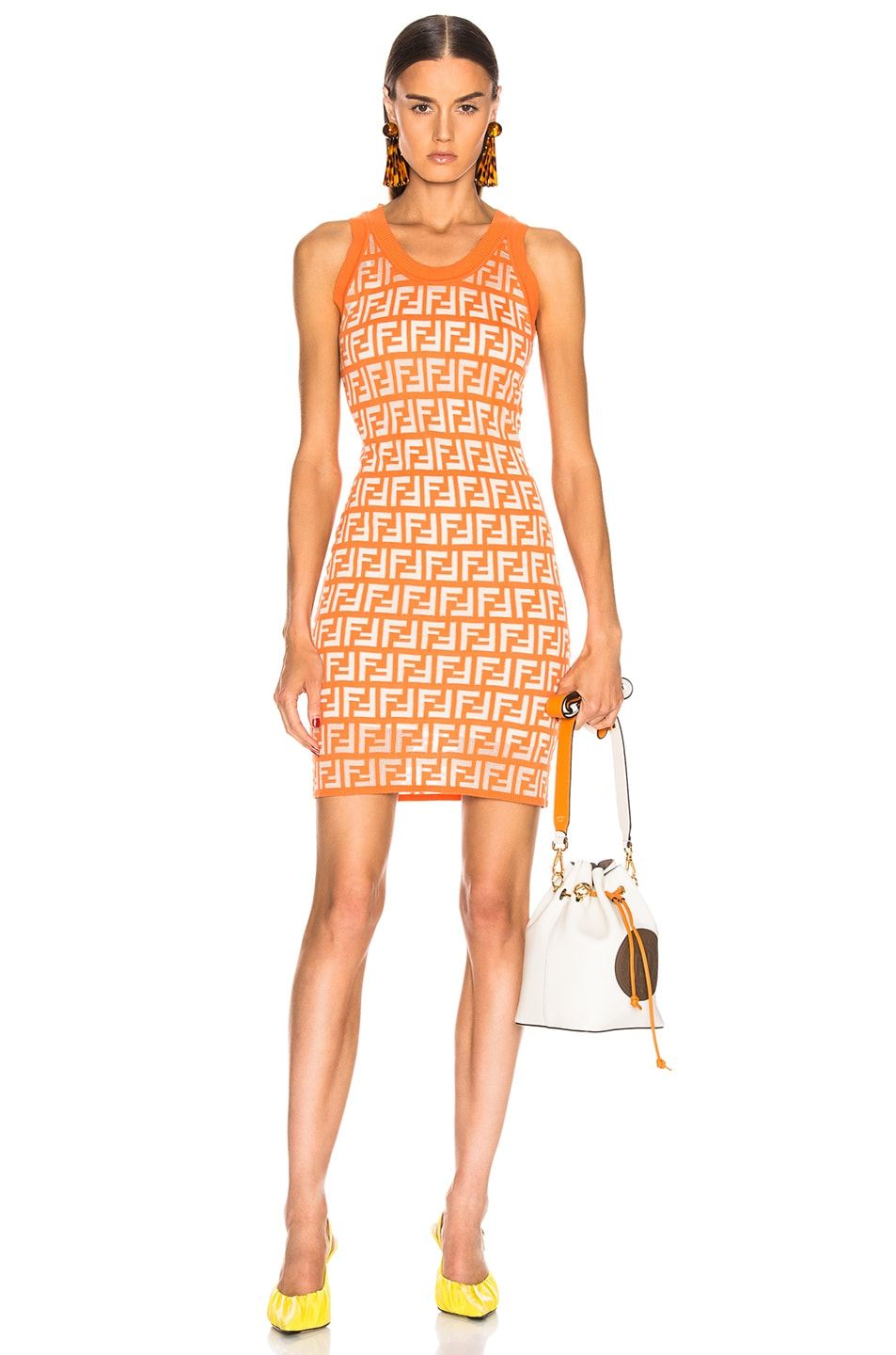 Image 1 of Fendi Logo Dress in Orange