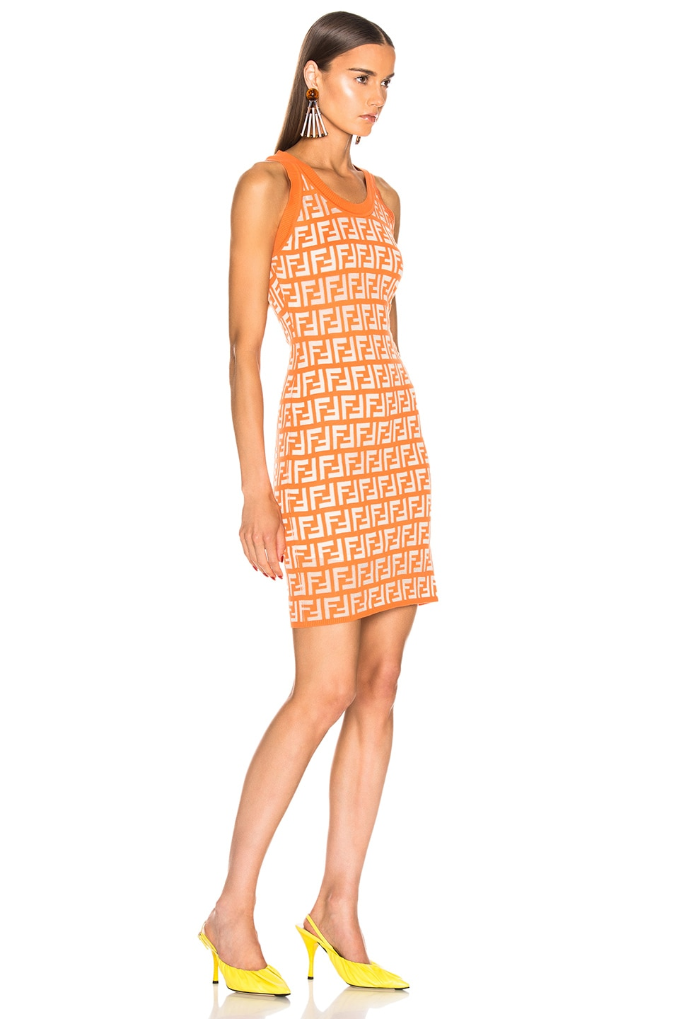 Image 2 of Fendi Logo Dress in Orange
