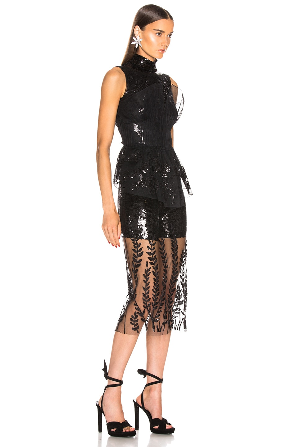 Image 4 of Fendi Sequin Midi Dress in Black