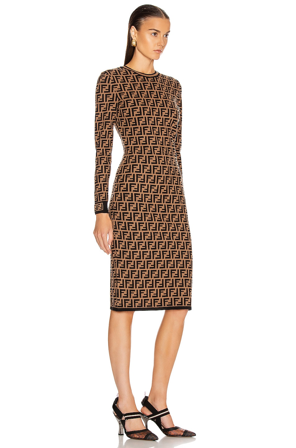 Image 2 of Fendi Longsleeve FF Midi Dress in Tobacco
