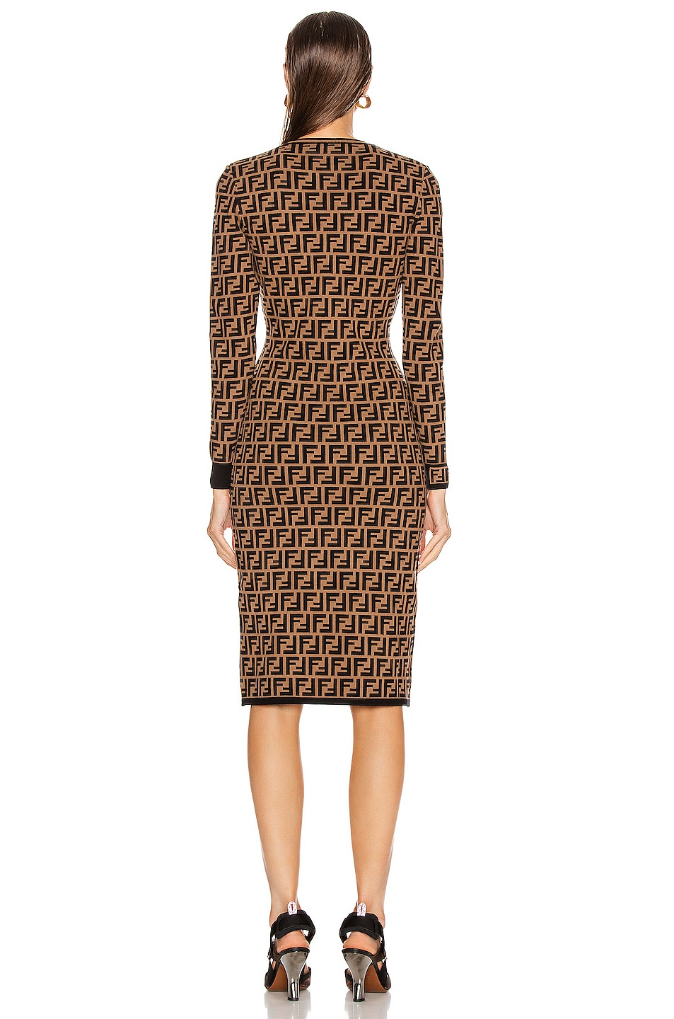 Image 3 of Fendi Longsleeve FF Midi Dress in Tobacco