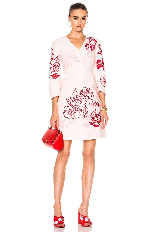 Fendi V Neck Printed Mini Dress in Pink