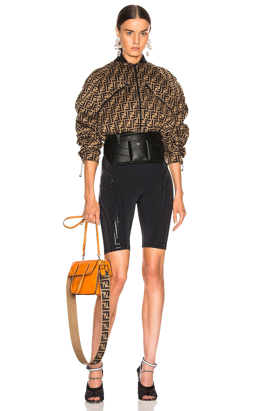 Image 5 of Fendi FFreedom Biker Short in Black