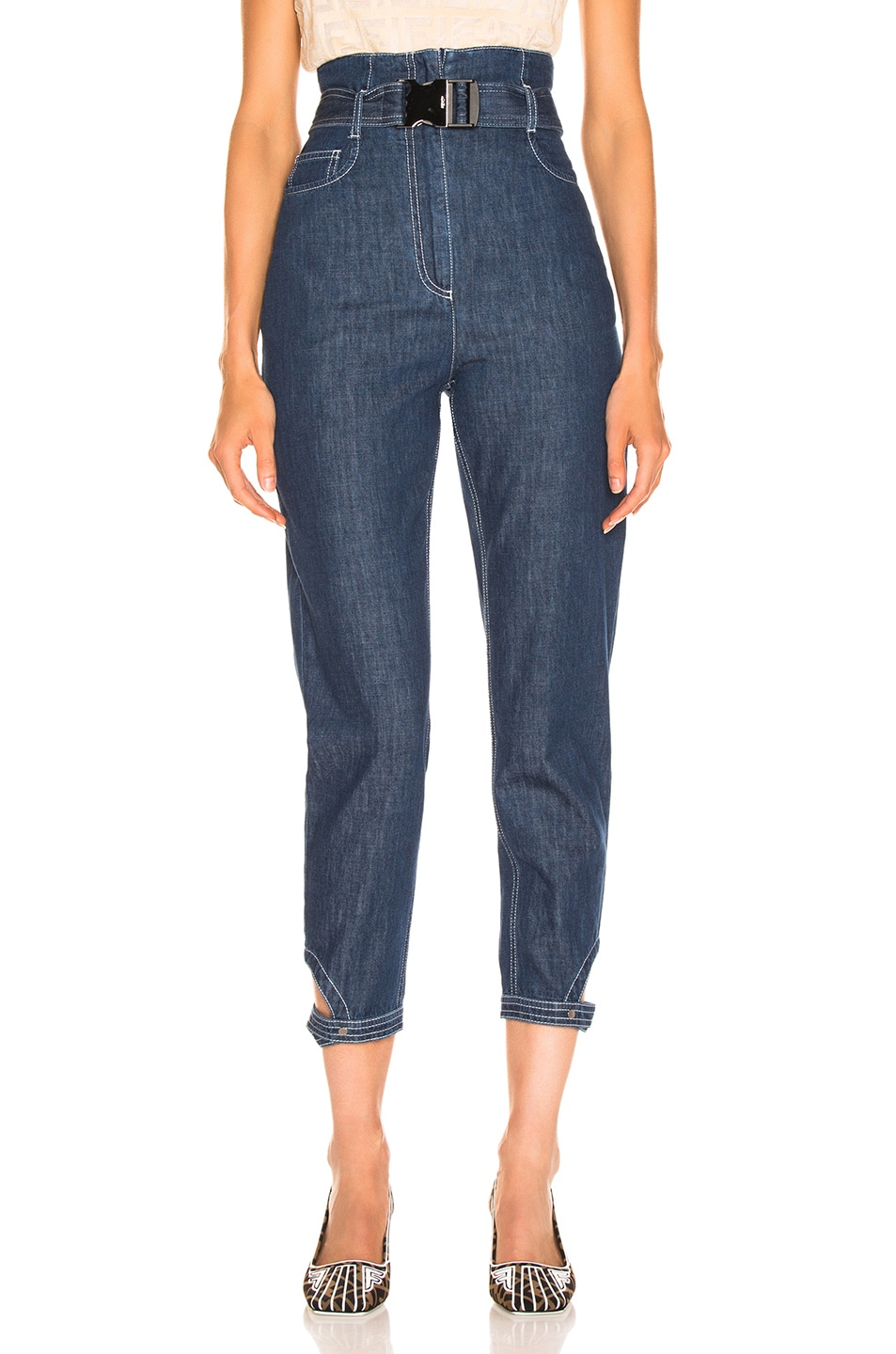 Image 1 of Fendi Belted High Waisted Jean in Blue