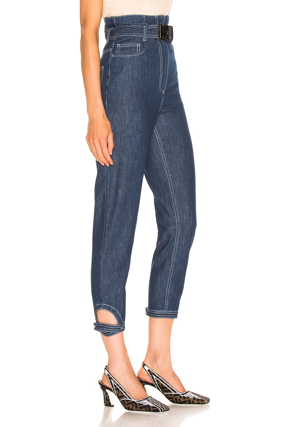Image 2 of Fendi Belted High Waisted Jean in Blue