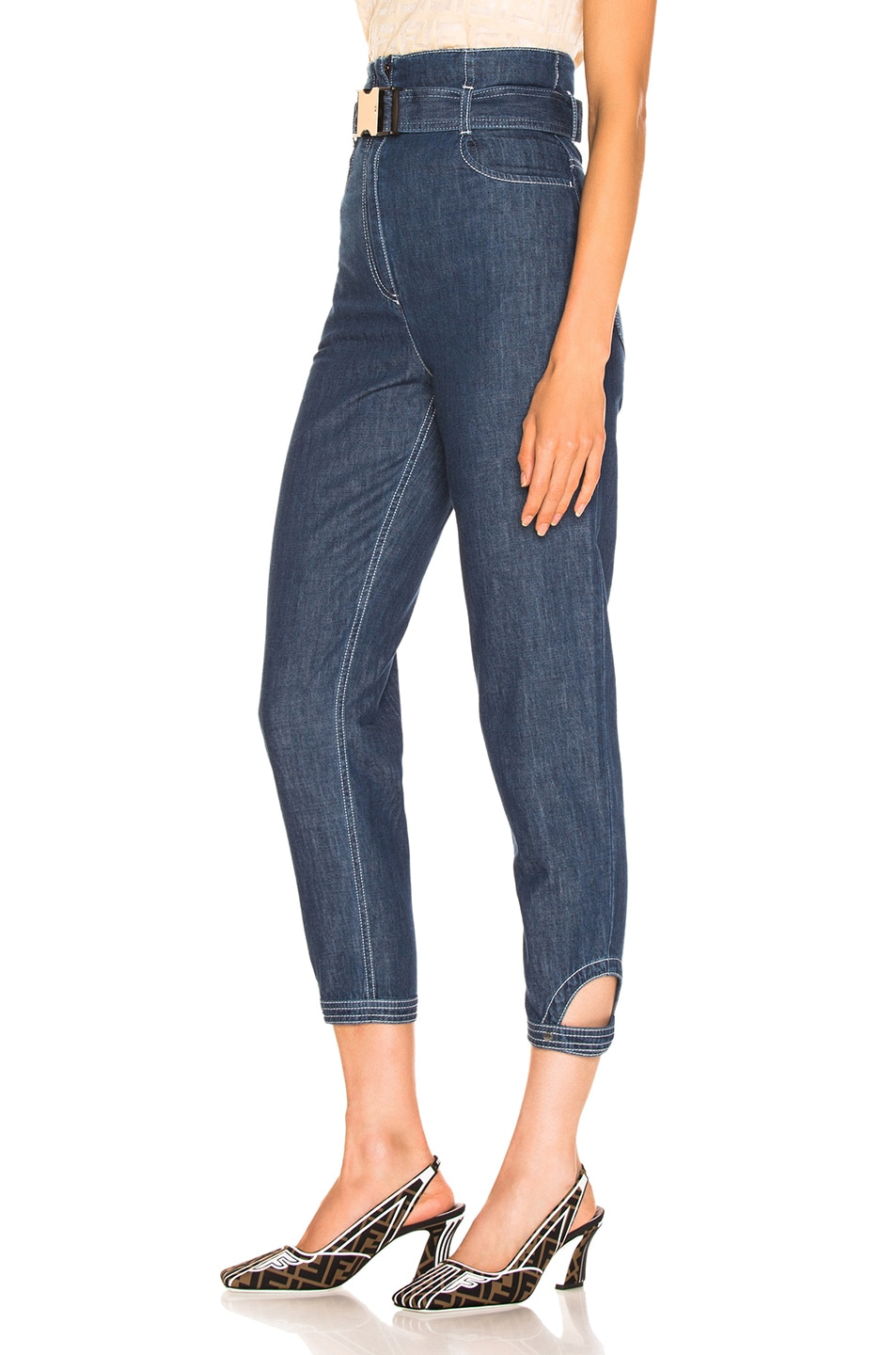 Image 3 of Fendi Belted High Waisted Jean in Blue