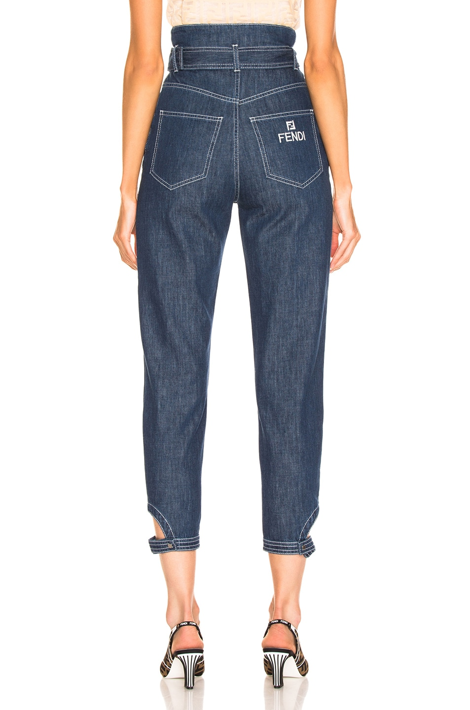 Image 4 of Fendi Belted High Waisted Jean in Blue