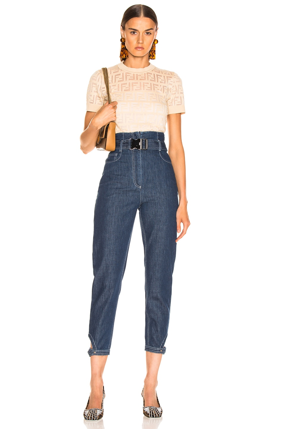 Image 5 of Fendi Belted High Waisted Jean in Blue