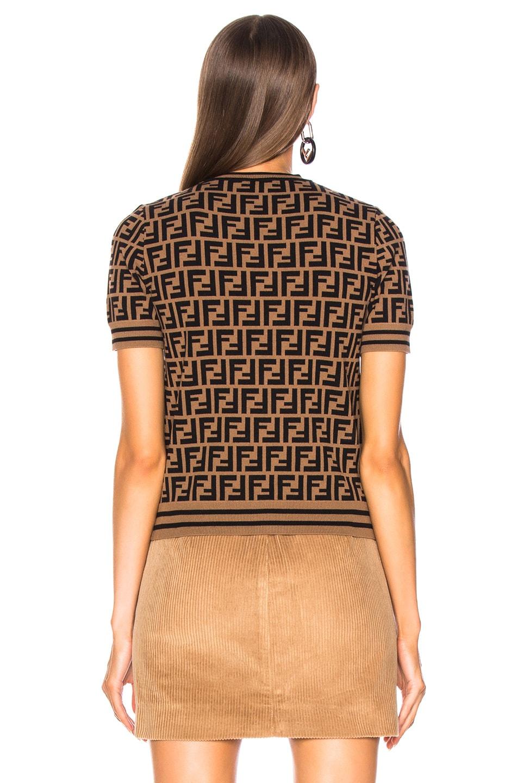 ab97078f7802 Image 4 of Fendi Fendi Mania Logo Print Short Sleeve Sweater in Tobacco    White
