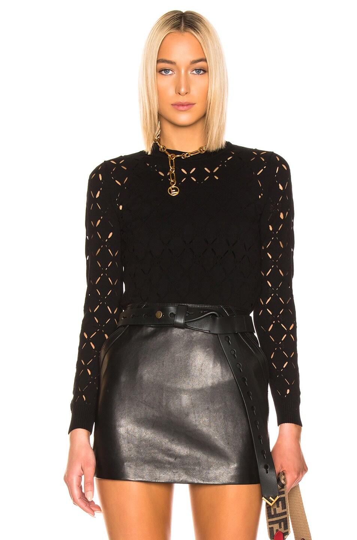 Image 1 of Fendi Crop Sweater in Black