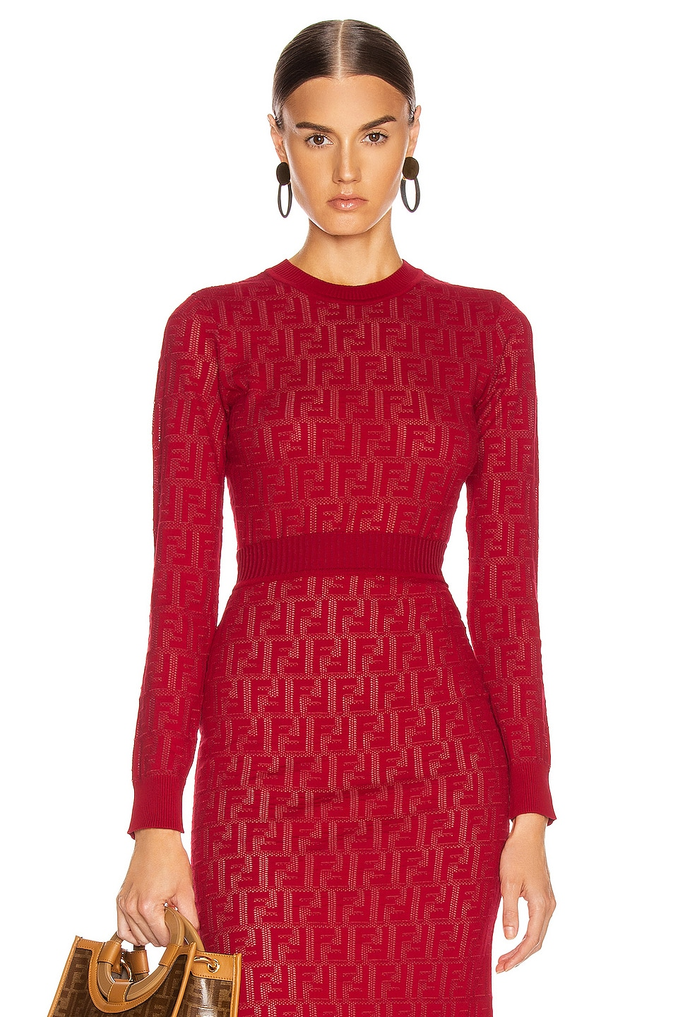Image 1 of Fendi Long Sleeve FF Sweater in Fuchsia