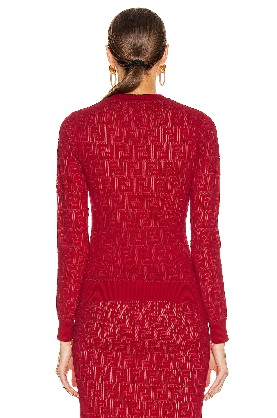 Image 3 of Fendi Long Sleeve FF Sweater in Fuchsia