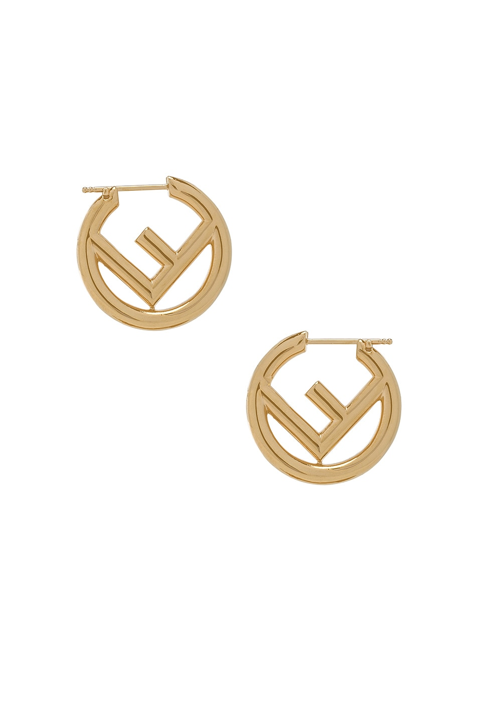 Image 1 of Fendi FF Mismatched Hoop Earrings in Gold